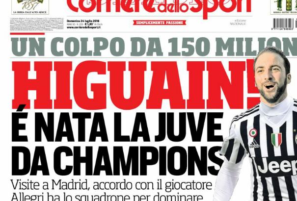 Serie A: Für 94,7 Mio Euro wechselt Higuaín wohl zu Juventus Turin