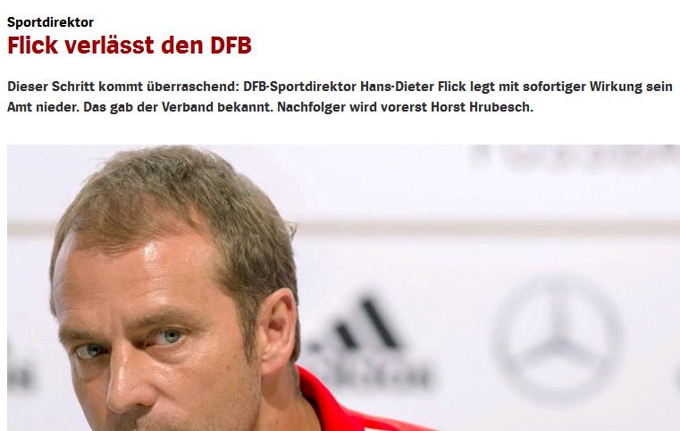 Der DFB verliert vorerst einen sehr fähigen Mitarbeiter. Hansi Flicks Bitte um die Vertragsauflösung kam auch für den DFB überraschend. Der WM-Erfolg 2014 trägt seine Handschrift