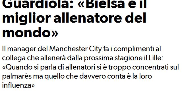 """Guardiola lobt den """"verrückten Vogel"""" Bielsa – der Argentinier sei ein einflussreicher Trainer auch ohne Titel! Wir berichteten hier bereits mehrmals über Bielsa…und dessen Weisheiten und Philosophie"""