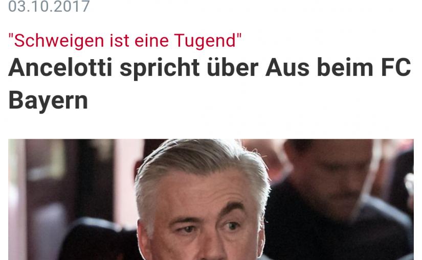 """Trainer-Karrieren und Biografien, Trainer-Psychologie: Von Carlo Ancelotti lernen heißt, den Stil zu bewahren, egal wie schlecht man behandelt und wie viel """"Dreck"""" einem nachgeworfen wird! Es wird immer klarer: Bayern Münchens Problem ist eigentlich Uli Hoeneß, dessen Auftreten und Management nicht mehr zeitgemäß ist"""